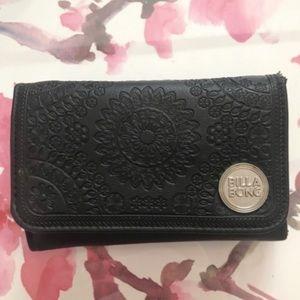 Billabong black floral embroidered card holder